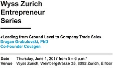 First Event of the Wyss Zurich Entrepreneur Series